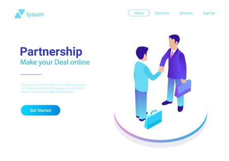 Due uomini d'affari isometrici piatti che fanno illustrazione vettoriale di affare Persone che si stringono la mano che fanno contratto online. Concetto di partenariato Vettoriali