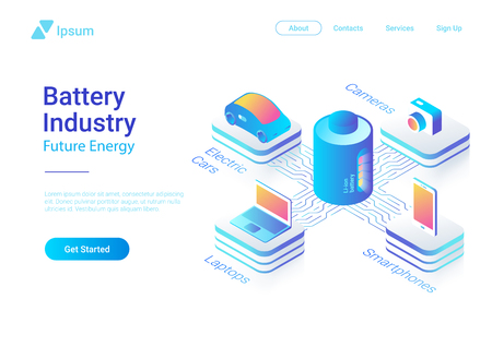 Isometric flat electric car laptop smartphone camera using Li-ion Battery concept vector colorful design template for website banner poster Zdjęcie Seryjne - 104446865