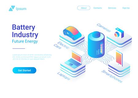 Isometrische platte elektrische auto laptop smartphone camera met behulp van Li-ion batterij concept vector kleurrijke ontwerpsjabloon voor website banner poster