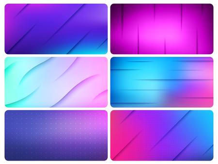 Colorful Vector Wave Lines Background abstract design set. Ultraviolet technology media wavy layout backgrounds set for poster banner website Vektorové ilustrace