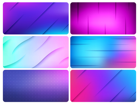 Colorful Vector Wave Lines Background abstract design set. Ultraviolet technology media wavy layout backgrounds set for poster banner website