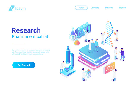 Isometric Flat Research Pharmaceutical Laboratory vector illustration. Scientists working with microscope test tubes DNA in Lab