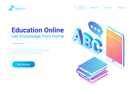 Online Education Isometric Flat vector Tablet PC with Books concept