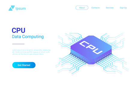 Isometric Flat CPU GPU Processor Chip vector illustration Çizim