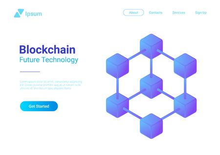 Blockchain Technology Isometric flat vector illustration concept. Hi tech Block chain data structure visualization Vector Illustration