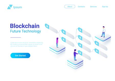 Blockchain Technology Isometric flat vector illustration concept. People using Block chain data