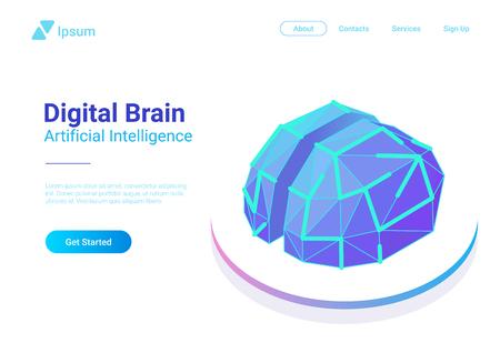 Digital Brain Isometric flat style vector design concept. Artificial intelligence technology AI illustration