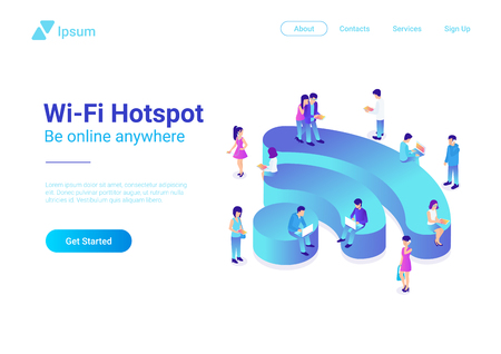 Wifi Wireless isometric flat illustration concept. People using Wi-fi