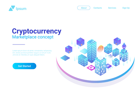Isometric Smart City Skyscrapers Buildings abstract vector illustration.  Blockchain Cryptocurrency Marketplace business finance concept