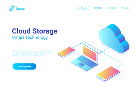 Isometric Flat Data Cloud Storage Network vector illustration. Online Computing Hosting 3D isometry concept. Tablet PC, Laptop, Mobile phone smartphone objects
