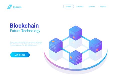 Blockchain Technology Isometric flat vector illustration concept. Hi tech Block chain data structure visualization Illustration