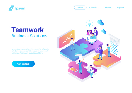 Isometric Flat vector Management Teamwork Business People on Puzzle parts. Finance Concept illustration