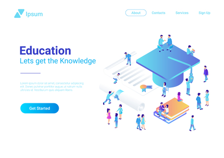 Education Online Isometric vector illustration concept