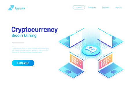 Isometric Cryptocurrency Bitcoin Trading platform market vector illustration. Laptops Notebooks using Blockchain technology Illustration