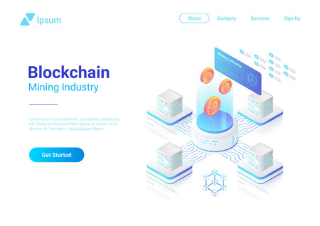 Isometric Bitcoin Miners Computers website vector design. Mining Industry Cryptocurrency illustration concept