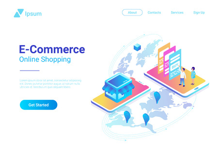 E-commerce World map global isometric vector ultraviolet illustration design. People buy pay Smartphone and Credit Card in the web shop Illustration
