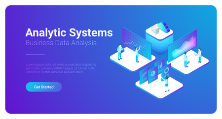 Ilustración de vector de gráficos de datos de estadísticas de análisis de negocio isométrico. Concepto de trabajo en equipo de personas de red
