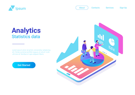 Isometric Flat Analytics Marketing Strategy Vector Illustration. People standing on Smartphone with Statistics Charts Çizim