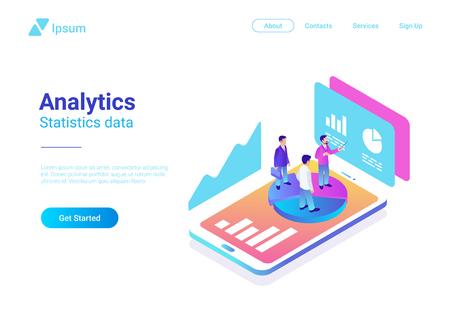 Isometrische flache Analytik-Marketingstrategie-Vektorillustration. Menschen, die auf Smartphone mit Statistik-Diagrammen stehen