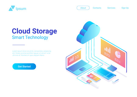 Isometric Flat Cloud Hosting Network vector Banner Design. Online Computing Storage 3D concept. Smartwatch, Computer, Laptop, Mobile phone objects