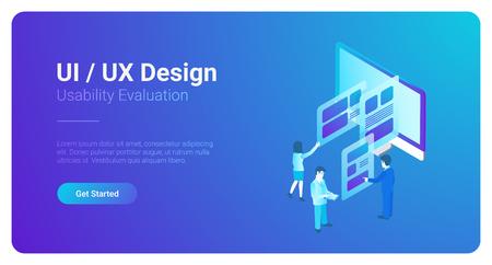 Isometric style illustration UI UX Design People Teamwork
