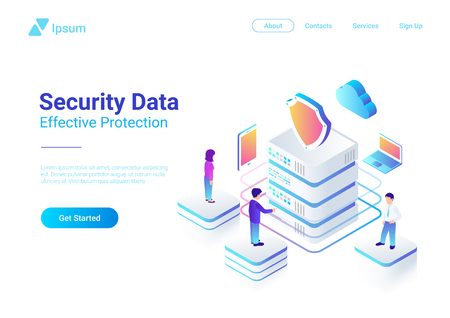 Security Data Protection Isometric Flat vector illustration concept. People works with Server Laptop Mobile Smartphone in Cloud network Illustration