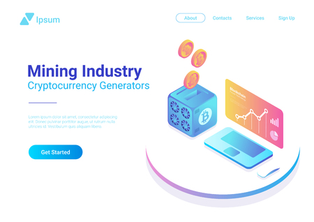 Bitcoin Miner with falling Coins and Computer with Cryptocurrency rate statistics on Screen Isometric Flat Mining industry concept