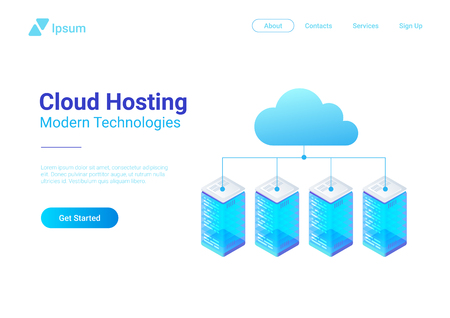 Isometric Flat Data Hosting Servers connected to Cloud vector illustration