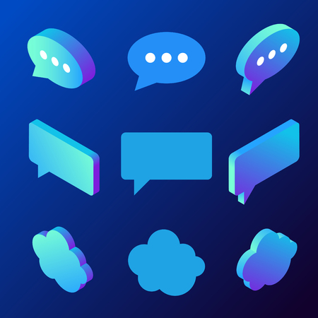 Isometric Chat Bubble vector icons