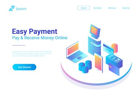 Isometrische platte online betaling door smartphone Laptop POS-terminal met creditcardmunten contant geld