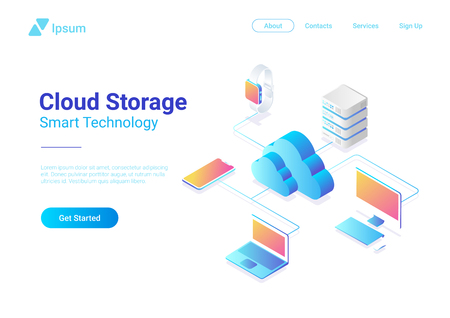 Isometric Flat Cloud Hosting Network vector illustration. Online Computing Storage 3D isometry concept. Smartwatch, Computer, Laptop, Mobile phone objects Illustration