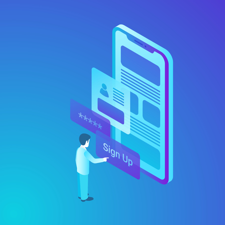 Isometric Man User getting access to Account Program Application App from Mobile Phone. Smartphone security data Vector Illustration