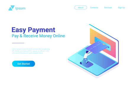 Online Payment by Credit Card on Laptop isometric flat vector illustration. Man using bank card in notebook online shopping concept