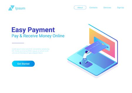 Pago en línea con tarjeta de crédito en la ilustración de vector plano isométrico de computadora portátil. Hombre con tarjeta bancaria en el concepto de compras en línea portátil