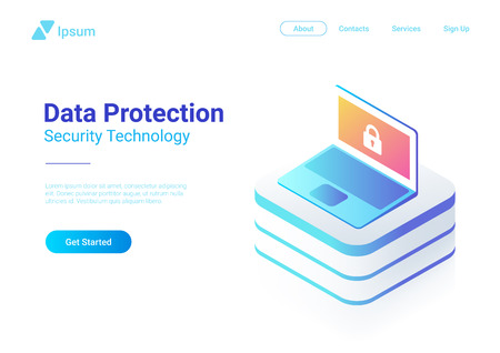 Isometric Flat Computer Laptop Notebook Ultraviolet vector illustration. General protection security data regulation Technology Concept