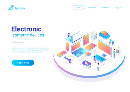 Isometric Flat electronic devices ultraviolet collection: laptop, computer, monitor, vr helmet, smartwatch, smartphone, tablet pc, photo camera, storage Illustration