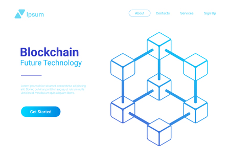Blockchain Technology Isometric flat vector illustration concept. Hi tech Block chain data structure visualization. Standard-Bild - 114838792