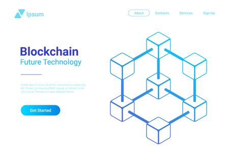 Blockchain Technology Isometric flat vector illustration concept. Hi tech Block chain data structure visualization. Illustration