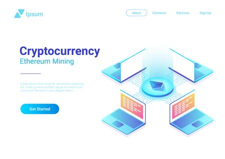 Isometric Cryptocurrency Etherium Trading platform market vector illustration. Laptops Notebooks using Blockchain technology Ilustração