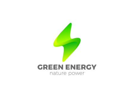 Green Energy Flash Logo design vector template. Thunderbolt symbol. Natural Ecology Power electric speed creative Logotype concept