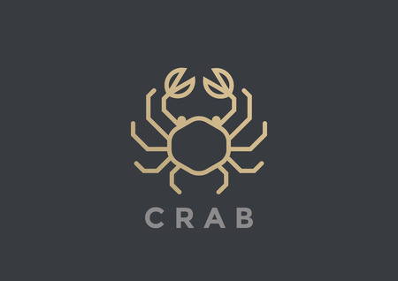 Crab Logo vector design template geometric Linear style. Seafood Luxury Restaurant Store Logotype icon concept