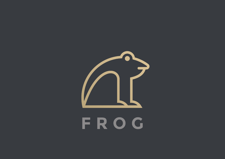 Frog Logo vector design template geometric Linear style. Line art Logotype icon concept