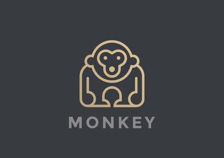 Monkey Logo vector design template geometric Linear style. Gorilla Logotype icon concept