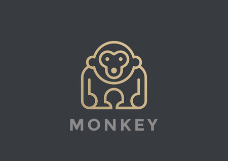 Monkey Logo vector design template geometric Linear style. Gorilla Logotype icon concept
