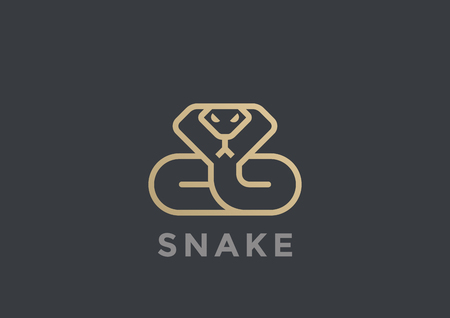Snake Logo vector design template geometric Linear style. Cobra Logotype icon concept Illusztráció