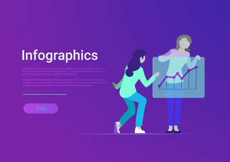 Flat style infographics web banner vector template. Women take presentation board with chart graph diagram. Female studying, working, take report info graphic Illustration