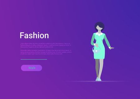 Flat style woman fashion web banner template vector illustration. Casual smiling female on stylish trendy dress. Clothes, wear and shopping concept