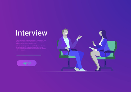 Flat interview of celebrity famous popular man vector illustration. Female journalist correspondent asks question. TV journalism television media press news