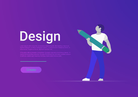 Flat design vector banner template illustration. Male designer artist holding huge pencil.  イラスト・ベクター素材