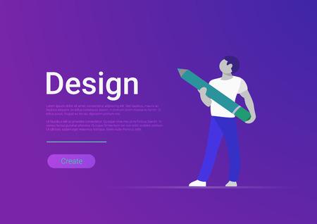 Flat design vector banner template illustration. Male designer artist holding huge pencil. Illustration